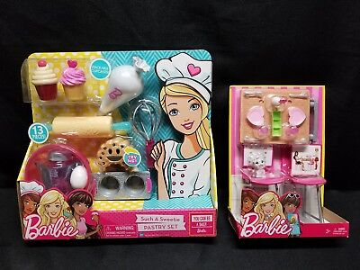 NEW Barbie LOT: Such A Sweetie Pastry Set AND Date Night & Accessories Furniture