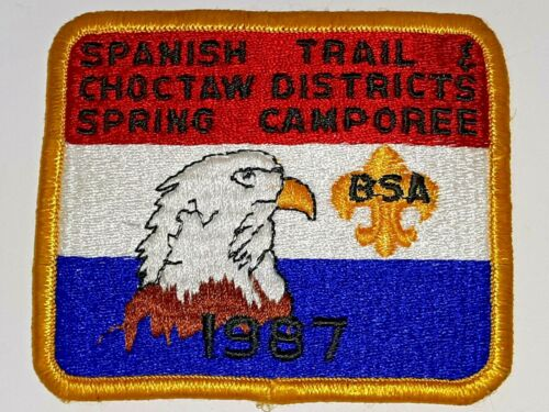 Vintage Boy Scouts patch  Spanish Trail & Choctaw Districts Spring Camporee 1987