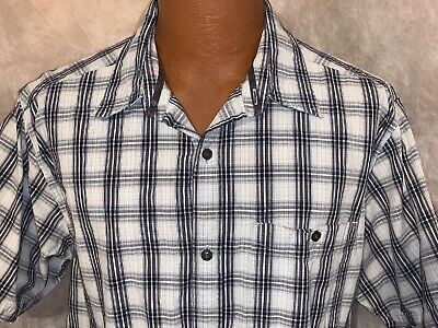 The North Face SS Button Down Men's XL Check Striped Blue White Shirt Tnf Hike