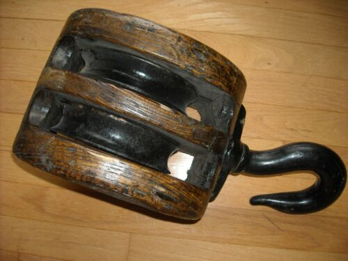 """10"""" Block ,2 pulleys (sheaves)and hook antique nautical large"""