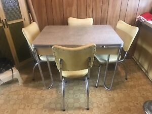 Vintage table, chairs and corner hutch