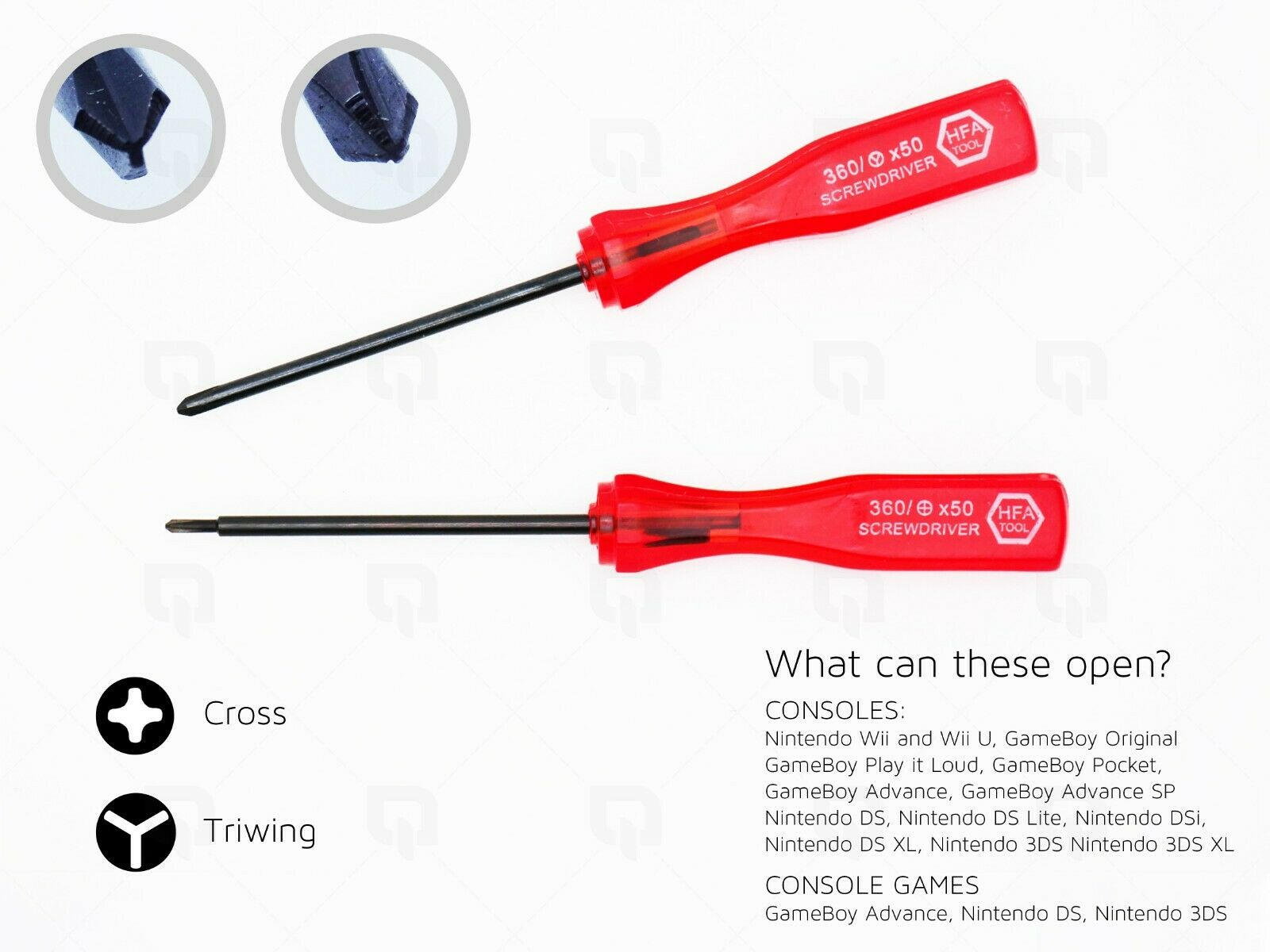 2x Screwdriver Cross Head Drivers for GBA DSL NDS PS4 Controller 3DS XL