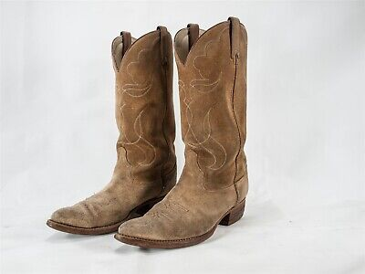 Vintage Mens Acme Cowboy Brown Suede Boots, Made In USA Size 9 D