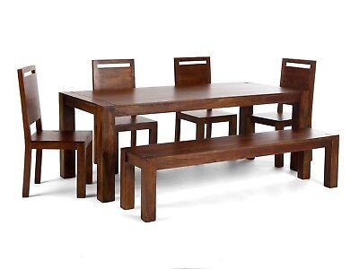 Tisch 200x90 mit 4 Stühlen und Bank Essgruppe massiv Palisander Möbel MONROVIA