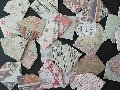 Mini Envelopes x12 - Vintage Travel Mix cut in doublesided card -3.75cm x 2.5cm