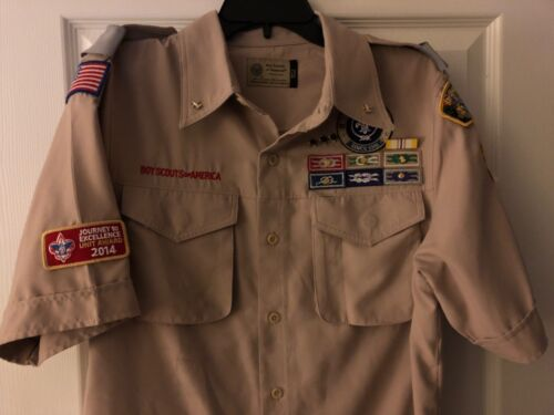 """Vintage Boy Scouts Of America Shirt (Small) w/Patches & Pins """"Unit Commissioner"""""""