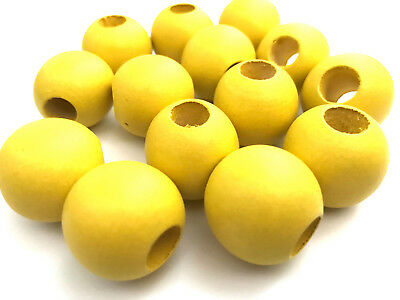 20 pcs Large Yellow Wood Beads Round 25mm Bead Jewelry Making Wooden Macrame Y1