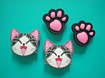Jibbitz Croc Clog Shoe Plug Button Charm WristBand Accessories 4 Kitty Cat Paws