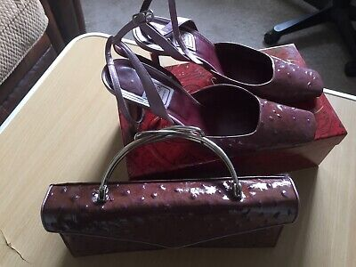 Ladies Renata Court Shoes And Matching Bag. Size 5/1/2ideal wedding worn once
