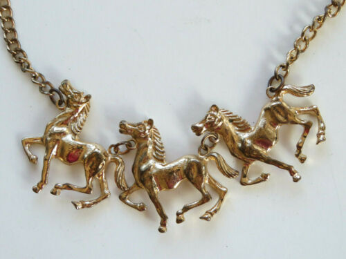 Beautiful 3 Running Horses Pendant Necklace Choker Gold Tone Equestrian Design