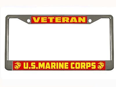 Marine Corps License Plate Frame (VETERAN U.S. MARINE CORPS Metal Auto License Plate Frame Car Tag Holder )