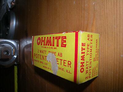 Ohmite Cu 5001 Potentiometer 50 Ohm 2w Type Ab
