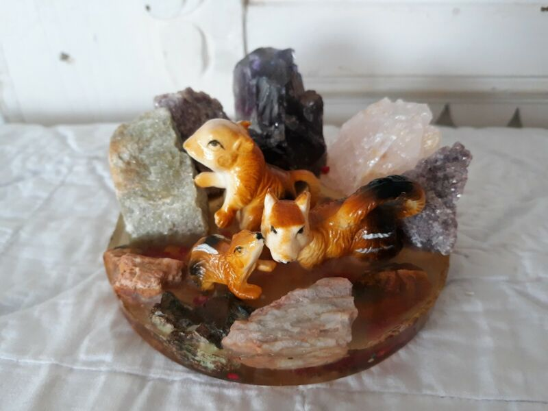 Vintage Rock Mineral Amethyst Lucite Paperweight with Squirrel Family Figurines
