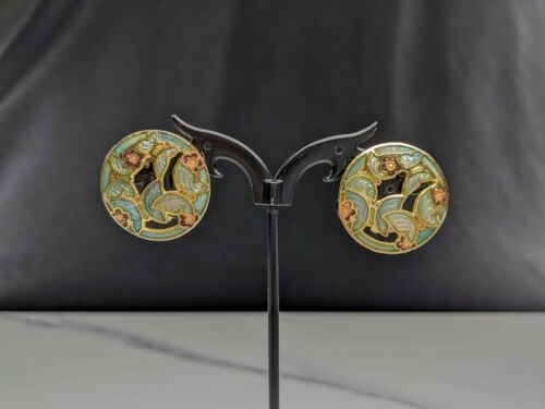 Lovely Vintage Jewellery Gold-tone Blue and Pink Cloisonné enamel Clip Earrings