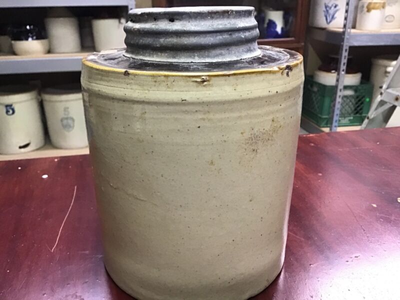 MACOMB ANTIQUE CROCK with ZINC & GLASS LID for canning , stoneware early pottery