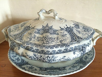 ANTIQUE VICTORIAN  F WINKLE WARWICK  BLUE/WHITE 10 INCH TUREEN & BASE PLATE