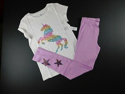 Childrens Star Outfit (NWT GAP Girl's Outfit Unicorn T-Shirt/Leggings Flip Sequin Star XL 2XL New)