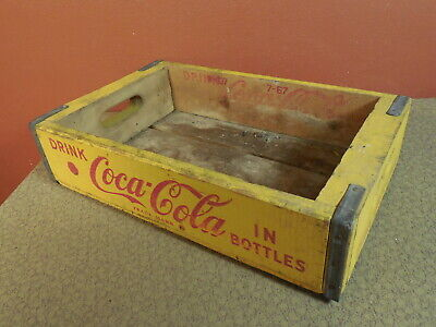 Vintage Coke DRINK COCA COLA in Bottles Wooden Crate Yellow 1967 Durabilt