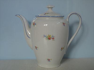Schöne alte Kaffeekanne Streublumen bunte Blumen Blaurand Shabby Porzellan