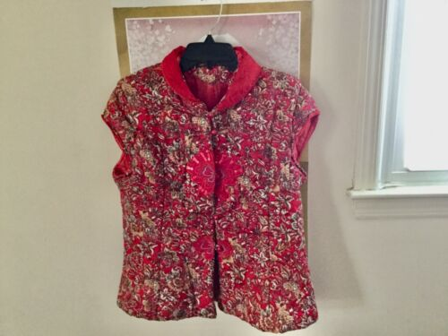 Women Chinese Traditional Style Cheong-sam Vest Cotton Red Color Size Large