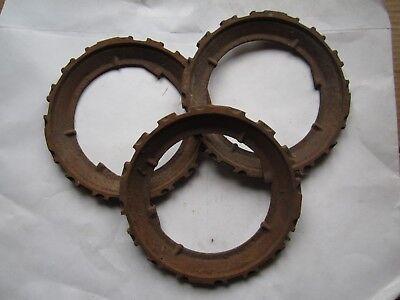 3 Vintage John Deere Cast Iron H694b Seed Planter Plates Rings Steampunk
