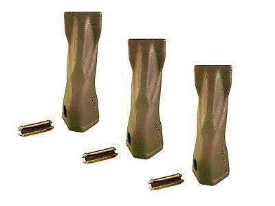 3 Backhoe Bucket Teeth- 195-7202 Chisel Tip W Pins Fits Cat Drs200 Adapters