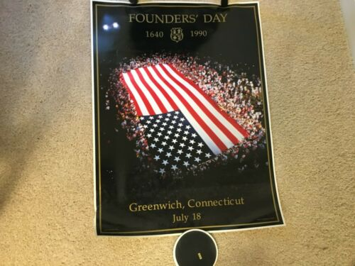 FOUNDERS+DAY+Poster+18+X+23+1%2F2+INCHES+GREENWICH+CT+CONN++JULY+18+TH+1640+-+1990