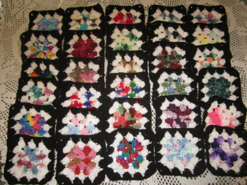 "*** 30-5"" CROCHETED GRANNY SQUARES BLOCKS 4 AFGHAN, AFGHANS* ASSORTED COLORS"