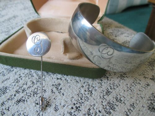 Stieff Pewter Cuff Bracelet & Stick Pin Monogrammed Letter G Boxed