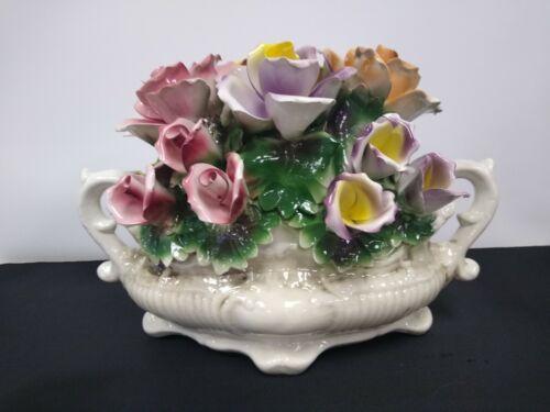 Vintage Italian Capodimonte Nuova Porcelain Flower Centerpiece.