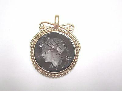 ANTIQUE VICTORIAN 10K GOLD AND INTAGLIO WATCH FOB CHARM PENDANT