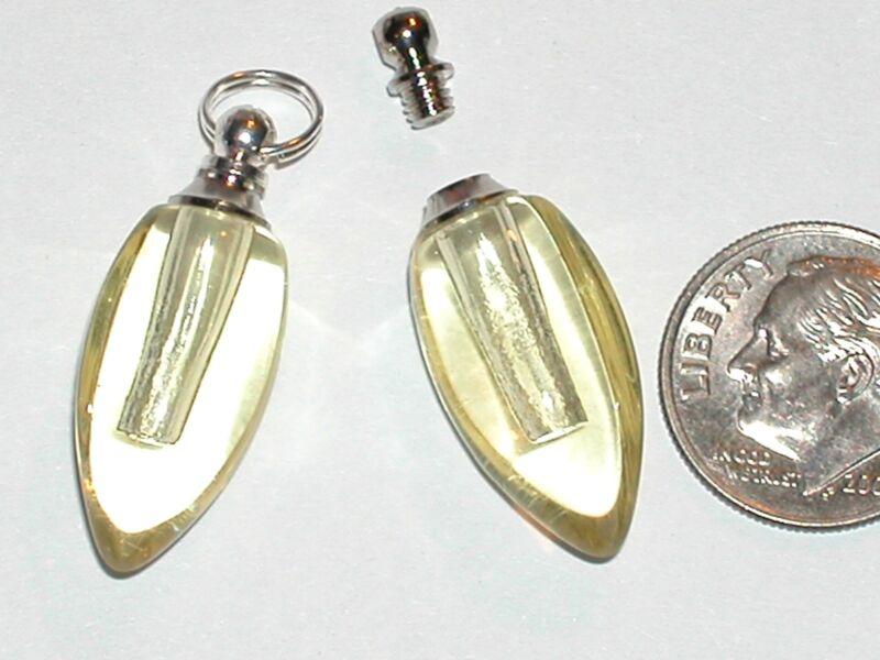 1 Small Glass Bullet locket pendant Yellow vial oil Necklace Bottle SCREW CAP