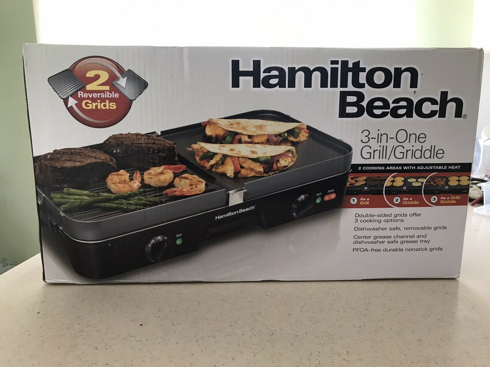 Hamilton Beach 3 in 1 Grill/Griddle Model 38546 New in unope