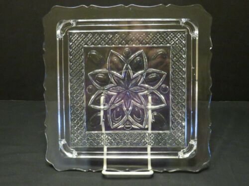 """Imperial Crystal Cape Cod Square 10"""" Footed Cake Plate"""