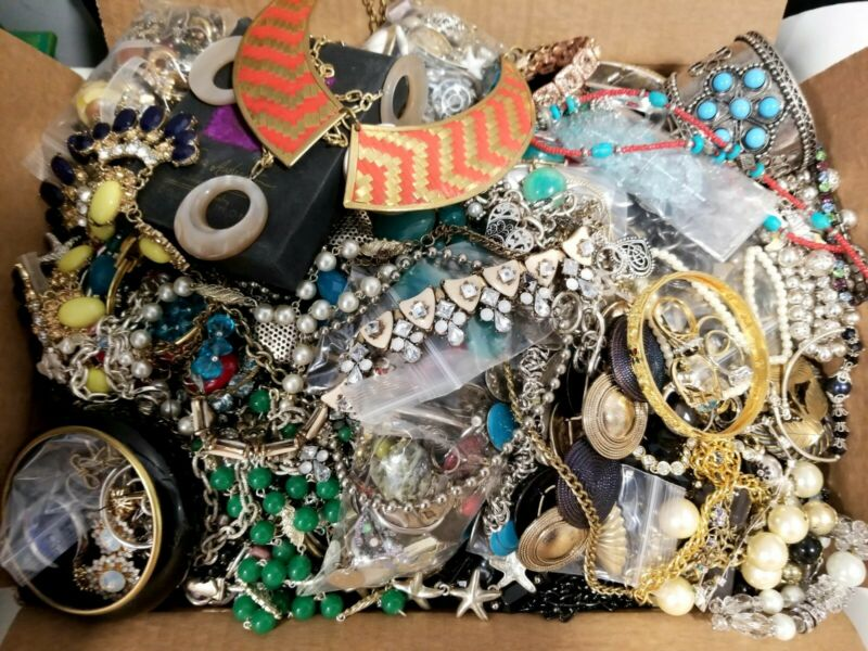 HUGE 30+ lbs Junk Drawer Jewelry LOT Mismatched/Broken Crafts Repair Rhinestones