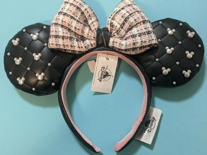 Disney Parks 2021 Minnie Mouse Tweed And Pearl Ears Headband New