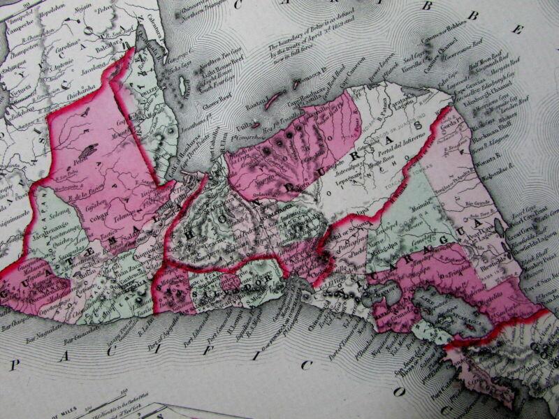 Central America Honduras Nicaragua Guatemala 1864 scarce Colton Civil War map