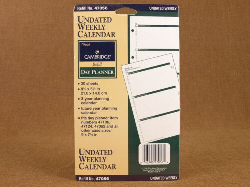 "Mead Cambridge Undated WEEKLY Calendar Day Planner 8.5 x 5.5""Refill Sheets 47056"
