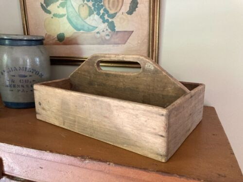"""Old Primitive Handmade Wooden Carpenter Tool Box Caddy Tote Curved  Handle 16"""""""