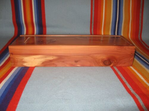 Native American Osage made Cedar Slider Feather Box, Peyote Roach Eagle Feathers