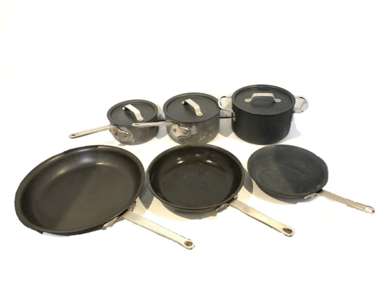 Vintage CALPHALON Commercial Aluminum Cookware 9 Piece Set W/ Lids Toledo USA