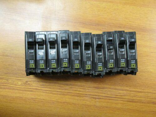 New Square D Circuit Breakers Bolt-on 1P, 20A, Cat# QOB120 (Lot of 10) .. UA-617