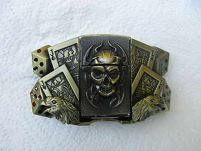 Belt Buckle Playing Card Jack/Eagle Heads/Dice with Removable Skull Lighter NEW