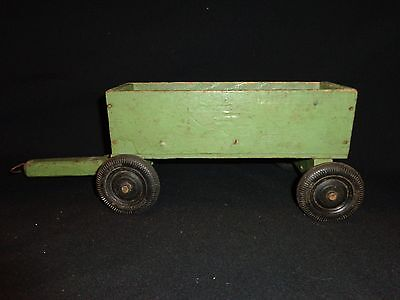 Early Vintage Handmade Pull Toy Wood Wagon with Hubley Toy Rubber Wheels, Green