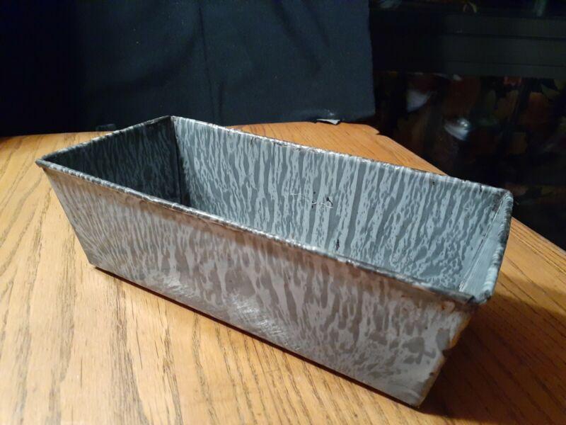 """Vintage Bread Pan/Loaf Gray Enamel Graniteware  Baking Pan 9-5/8"""" x 4 5/8"""""""