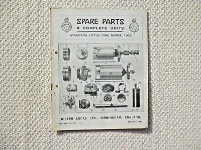 STANDARD LITTLE NINE 9 1933 LUCAS Parts List published January 1933