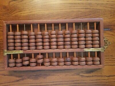 Rare Vintage Style 13 Digits Rods Wooden Abacus Chinese Calculator GREAT SHAPE !
