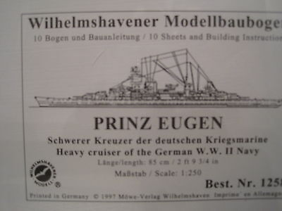Prinz Eugen Kreuzer Wilhelmshavener Modellbaubogen  Bastelbogen Kartonmodell