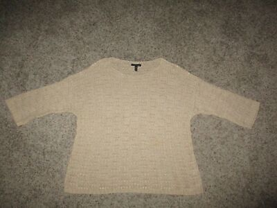 EILEEN FISHER PULLOVER SWEATER SZ LARGE L BEIGE ORGANIC COTTON LINEN BLEND LOOSE