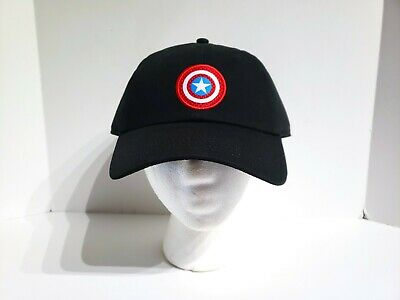 VANS x MARVEL Captain America Shield Logo Black Hat Strapback Cap Mens One Size ()